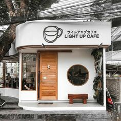 Light Up Cafe - Coffee Shop in Chiang Mai, Thailand - brewstr Japanese Coffee Shop, Small Coffee Shop, Coffee Store, Coffee Cafe, Coffee Truck, Starbucks Coffee, Coffee Drinks, Cafe Shop Design, Small Cafe Design