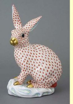 Herend Hand Painted Porcelain Standing Tall Rabbit on a Base, Rust Fishnet, Gold Accents.