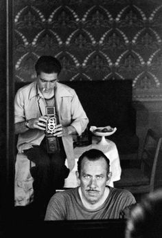 """A picture a week Magnum Photographer: Robert Capa Robert Capa & John Steinbeck, Self portrait, 1947 Picture from John Steinbeck's book, """"A Russian Journal"""" with pictures of Robert Capa. C G Jung, Foto Poster, Andre Kertesz, Writers And Poets, Richard Avedon, Famous Photographers, Magnum Photos, Black And White Photography, Old Photos"""