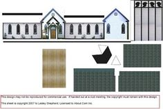 Layout Sheet showing printable parts for a 1:144 scale (N scale) miniature village church