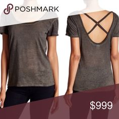"""LAST 1❗️NWT Olive Slub X Back Burnout Tee HP5⭐️RATED❗️NWT.  Olive burnout X back scoop neck tee.  Somewhat oversized.  Approx measurements laying flat:  SMALL chest 17.5"""" length 23"""" MEDIUM chest 19"""" length 24"""".  Polyester/Cotton blend.  I am a size 6 and wear a 34DD, I would wear a small in this top or order up a size for a slightly oversized look. #16 Tops Tees - Short Sleeve"""