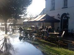 Hardy customers, enjoying the winter sunshine during the January 2014 flood
