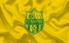 Download wallpapers FC Nantes, Football club, Nantes emblem, logo, Yellow silk, France, Ligue 1, football