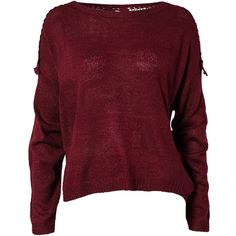 Jeane Blush Fabia Sweater ($47) ❤ liked on Polyvore featuring tops, sweaters, shirts, jumpers, burgundy, jumpers & cardigans, womens-fashion, burgundy lace shirt, burgundy shirt and lace top