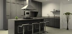 Fully equipped kitchen with top of the line appliances and a kitchen island for entertaining.