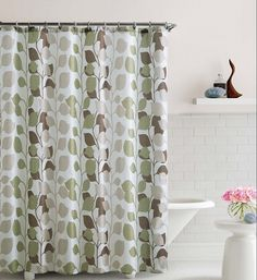 "Shower Curtain- Sydney Brown/ Green Embossed Microfiber - 72""""x 72"""""