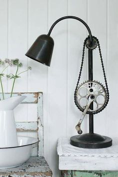 bike chain, pedal and gears lamp