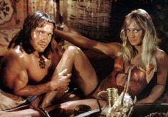 Arnold Schwarzenegger and Sandahl Bergman; in Conan The Barbarian, 1982.