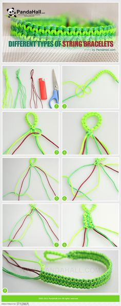 Different types of string bracelets. These instructions… na Stylowi.pl
