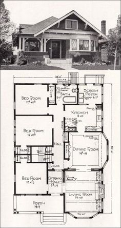 Plan No. R-856 c 1918 Cottage House Plan by A. E. Stillwell - vintage bungalows plans | Transitional Bungalow Floor Plan - by Kathy Niblack