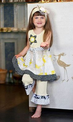 Zaza Couture VANILLA Yellow Black Capri set Girls 4-6x - Color Me Happy Boutique