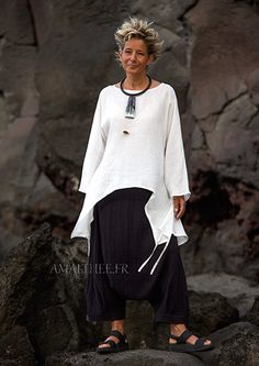 wide loose  tunic in white linen