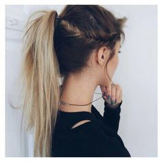 side fishtail + messy ponytail