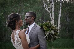 Woodsy florals for a forest wedding by Jenevieve of Beehive Floral Co.  Photographer: Captured by Kyli Venue: North Forty Escapes Rentals: Sage and Thistle Rentals Gown: Janay Marie Hair: Shaye Howard Makeup: Alssa Hall Makeup Artistry Models: Baylee Nielsen