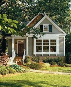 Cottage Exterior Very small house. Lots of plants and nature surrounding the house. Exterior House Colors, Exterior Paint, Tiny House Exterior, Small House Exteriors, House Siding, Cute House, Small House Plans, Little House Plans, Cottage House Plans