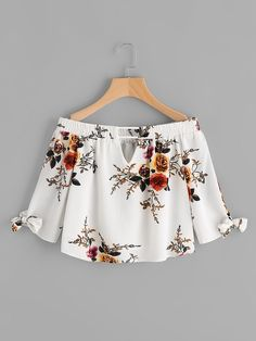 To find out about the V Cut Tie Cuff Florals Bardot Top at SHEIN, part of our latest Blouses ready to shop online today! Girls Fashion Clothes, Teen Fashion Outfits, Trendy Outfits, Girl Fashion, Fashion Dresses, Cute Outfits, Clothes For Women, Womens Fashion, Vetement Fashion
