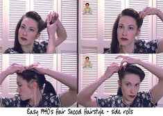 Tia Semer shows us how to easily create this glamorous old hollywood hair look with bobby pins. 1940s Hairstyles, Quick Hairstyles, Wedding Hairstyles, High Bun Hair, Hair Buns, Old Hollywood Hair, Underlights Hair, 1920s Hair, Rockabilly Hair