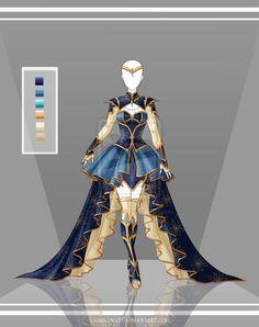 Outfit Desenho Vestido Curto Da Realeza Dourado/Azul Real