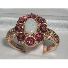 HIGH-QUALITY-SOLID-9CT-ROSE-GOLD-OPAL-GARNET-RING