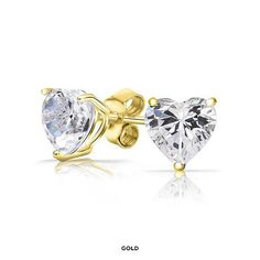 Chamonix 14-Karat Gold Heart Studs Made with Swarovski Elements - Assorted Finishes at 91% Savings off Retail!