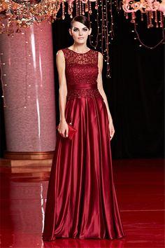Sheath Sleeveless Long Burgundy Silk Lace Beaded Evening Prom Dress With Sash