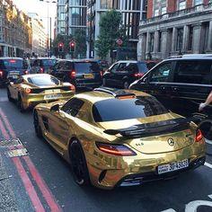 Gold ! By @tim.spot Both cars wrapped by @foilart follow them for more awesome cars @foilart @foilart @foilart @foilart