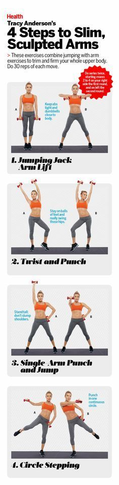 When it comes to achieving an amazing upper half, it's not enough to do just bicep and tricep moves. You need to pair a range of arm movements with bouts of cardio, which target the underlying flab. Try these moves from Tracy Anderson for sculpted arms. | Health.com