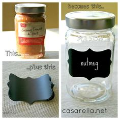 DIY:: Pretty up & Organize Kitchen Cabinets with Mason Jars (she used recycled jars from home)  -Quick Easy Tutorial !