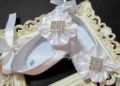 White Satin Baby Girl ShoesChristening by babyScarlettBoutique