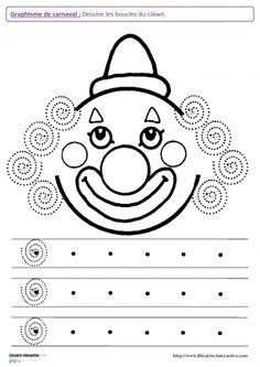Librairie-Interactive - Graphisme de carnaval Clown Crafts, Carnival Crafts, Pre Writing, Writing Skills, Preschool Worksheets, Preschool Activities, Decoration Cirque, Theme Carnaval, Le Clown