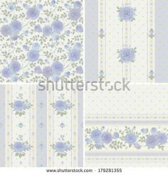 Set of vector patterns with climbing roses Seamless floral background and borders