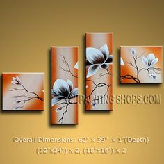 4 Pieces Contemporary Wall Art Floral Painting Tulip Contemporary Decor. In Stock $128 from OilPaintingShops.com @Bo Yi Gallery/ ops2458