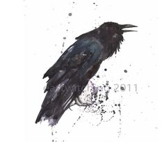 Raven art, RAVEN, small raven print, 5x7 print, Gift For The Poe Officianado, cabin, raven painting