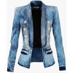 Balmain Streth cotton denim blazer found on Polyvore