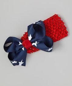 Red & Navy Star Bow Headband