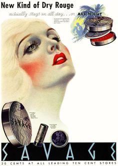 Savage Cosmetics, A New Kind of Rouge Ad, art by Frank Farkas, 1935 Vintage Makeup Ads, Vintage Nails, Retro Makeup, Vintage Glamour, Vintage Beauty, Vintage Vanity, Retro Advertising, Vintage Advertisements, Vintage Artwork