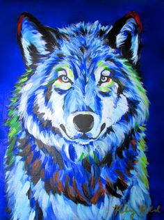 Blue Wolf (12×16) by Kelsey Rowland- wolf art painting acrylic on canvas- CreatedbyKelseyArt on Etsy!