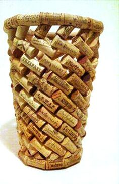 A waste paper basket made out of #reused wine corks: http://media-cache-ak2.pinimg.com/originals/53/8b/14/538b14e8eaf774ac460539a87c9da6d4.jpg
