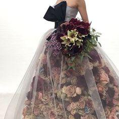 Trendy Ideas For Design Dresses Couture Tulle Flower Dresses, Pretty Dresses, Floral Fashion, Fashion Dresses, Retro Fashion, Korean Fashion, Mode Monochrome, Moda Floral, Floral Gown