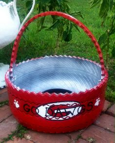 RUBBER POTTERY PLANTERS - Recycled Tire Planters. Find us on Facebook at Rubber Pottery. Original Design by Miranda Youmans Whitley