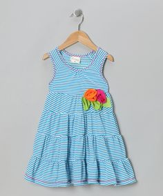 Turquoise Stripe Flower Tiered Dress - Toddler