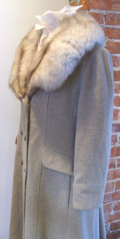 Vintage Sand Colored Princess Style Wool Coat With Fox Collar by TheOldBagOnline on Etsy