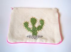 "Embroidered  zipper pouch ""Cactus I"""