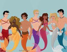 I like how Percy's prince Eric as a merman..