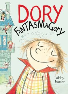 <2014 pin> Dory Fantasmagory by Abby Hanlon.  SUMMARY: Dory, the youngest in her family, is a girl with a very active imagination, and she spends the summer playing with her imaginary friend, pretending to be a dog, battling monsters, and generally driving her family nuts.