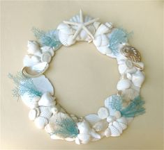 Beach Decor - Seashell Wreath with Hand-Painted Natural Sea Fans - 12-15 inch diam.