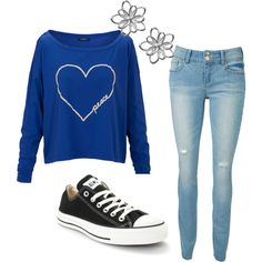 """Blue Sweater"" by style1098 on Polyvore"