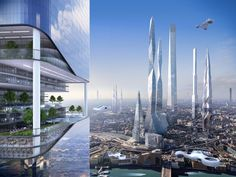 Samsung made a study in which the electronic manufacturer predicts that our environnement and cities could be in 100 years. The technology will totally modify o Futuristic City, Futuristic Architecture, Architecture Design, Chinese Architecture, Architecture Office, Fantasy City, Fantasy World, Future City, 3d Printed House