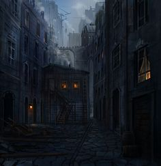 callejón vacío, casas, solitario, anochecer.