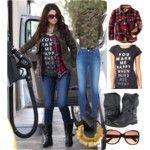 flannel/Camo/boots/tee/sunglasses/neckalace